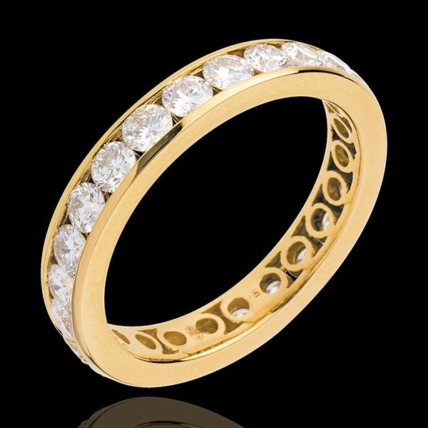 Trouwring 18 karaat geelgoud bezet - rails - 1.9 karaat - 23 Diamanten