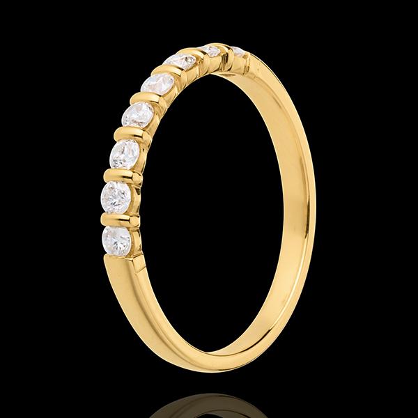 Trouwring 18 karaat geelgoud half bezet - 0.3 karaat - 8 Diamanten