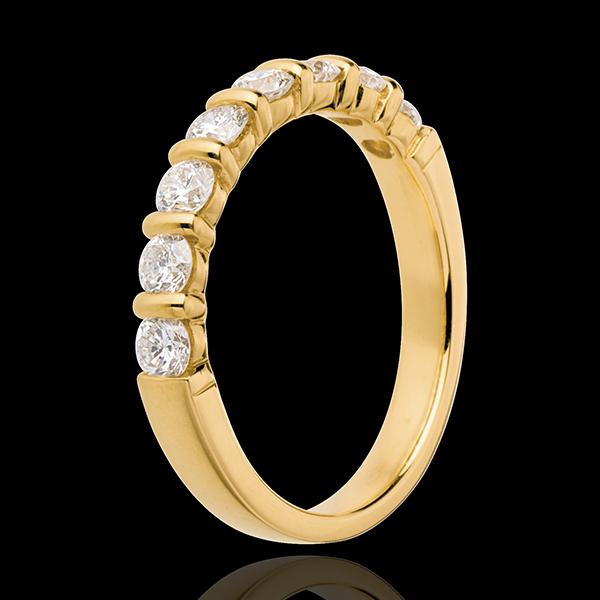 Trouwring 18 karaat geelgoud half bezet - 0.65 karaat - 8 Diamanten