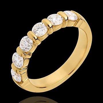 Trouwring 18 karaat geelgoud half bezet - 1.2 karaat - 6 Diamanten