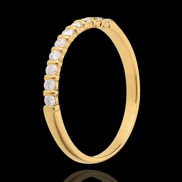 Trouwring 18 karaat geelgoud half bezet - 10 Diamanten