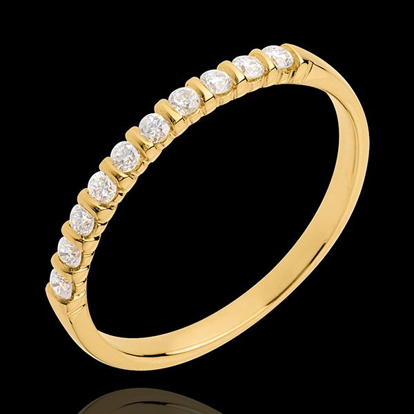 Trouwring 18 karaat geelgoud half bezet - pootjes - 10 Diamanten