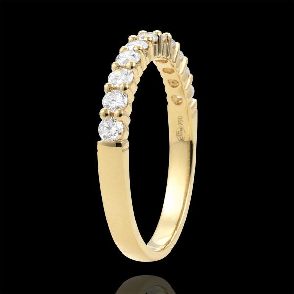 Trouwring 18 karaat geelgoud semi bezet - geklauwd - 0,4 karaat - 11 Diamanten