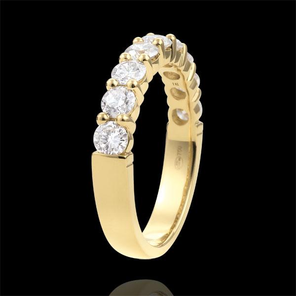 Trouwring 18 karaat geelgoud semi bezet - geklauwd - 1 karaat - 9 Diamanten