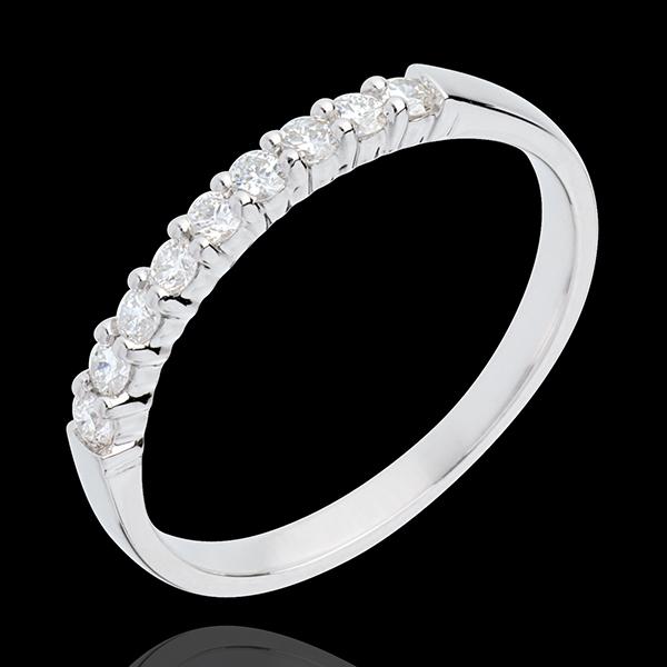 Trouwring 18 karaat witgoud bezet - pootjes - 0.25 karaat - 9 Diamanten