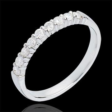 Trouwring 18 karaat witgoud bezet - pootjes - 0.3 karaat 9 Diamanten