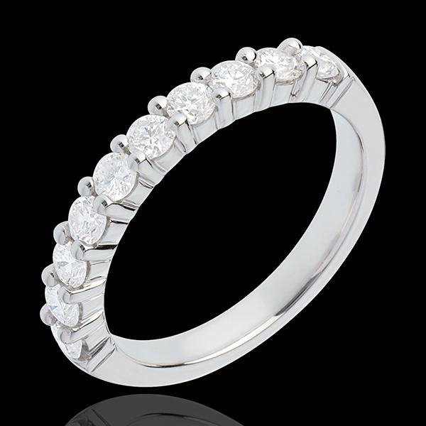 Trouwring 18 karaat witgoud bezet - pootjes - 0.65 karaat 10 Diamanten