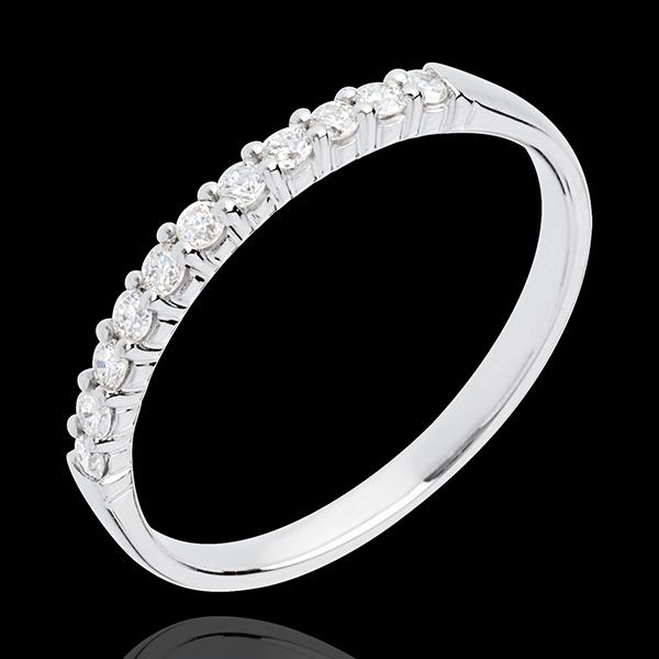 Trouwring 18 karaat witgoud bezet - pootjes - 11 Diamanten