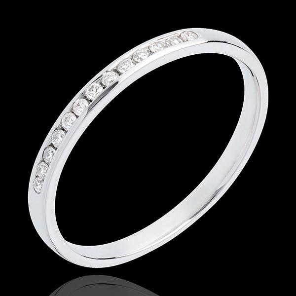 Trouwring 18 karaat witgoud bezet - rails - 13 Diamanten