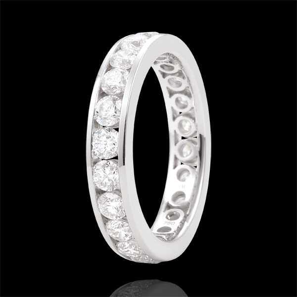Trouwring 18 karaat witgoud bezet - staaf - 1,9 karaat - 23 Diamanten