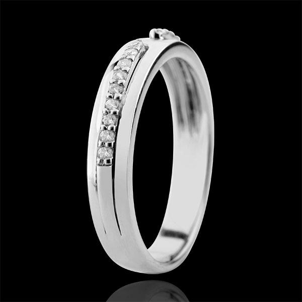 Trouwring Belofte - 9 karaat witgoud met Diamanten - groot model