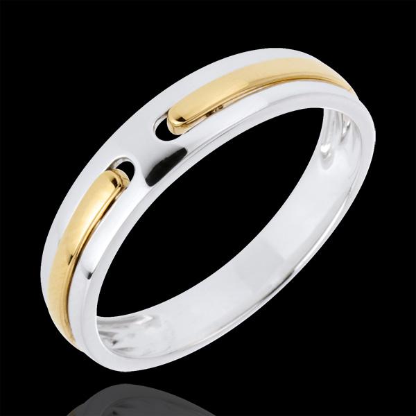 Trouwring Belofte - volledig goud - 9 karaat witgoud en geelgoud