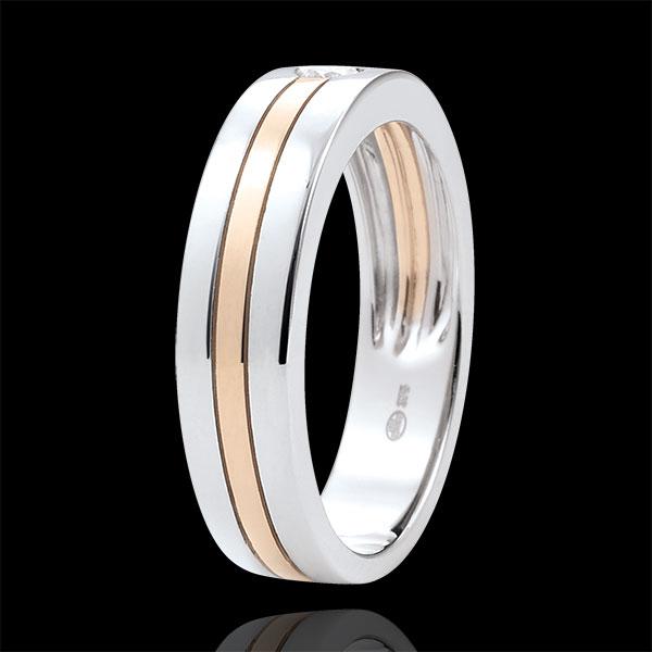 Trouwring Diamanten Ster - Klein model - witgoud en rozégoud - 9 karaat goud