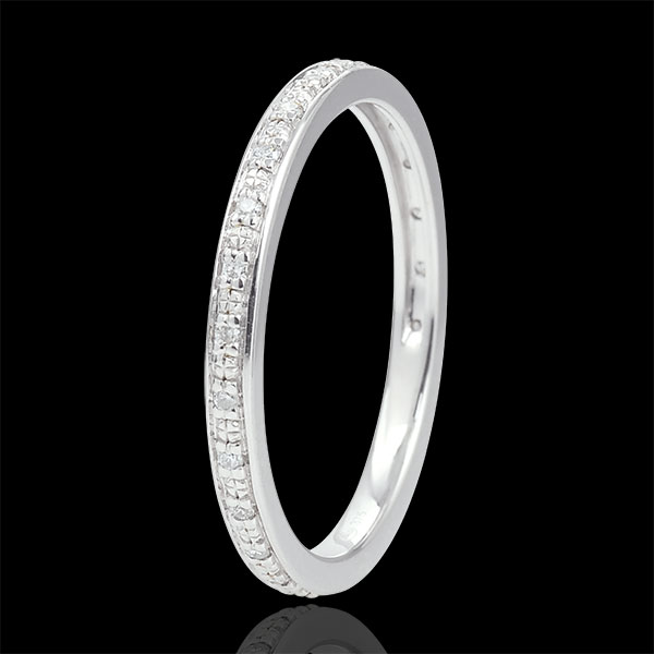 Trouwring Eclats de Diamant - volledige cirkel - 9 karaat witgoud met Diamanten