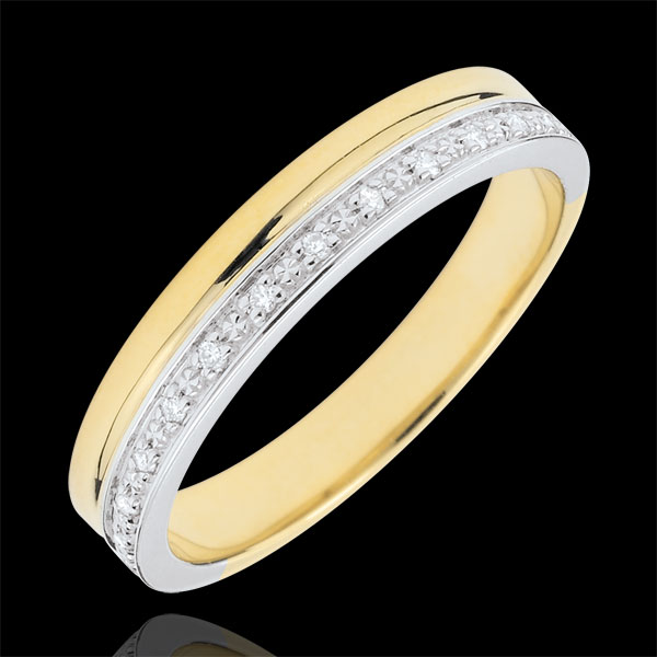 Trouwring Elegant - diamanten - witgoud en geelgoud 18 karaat