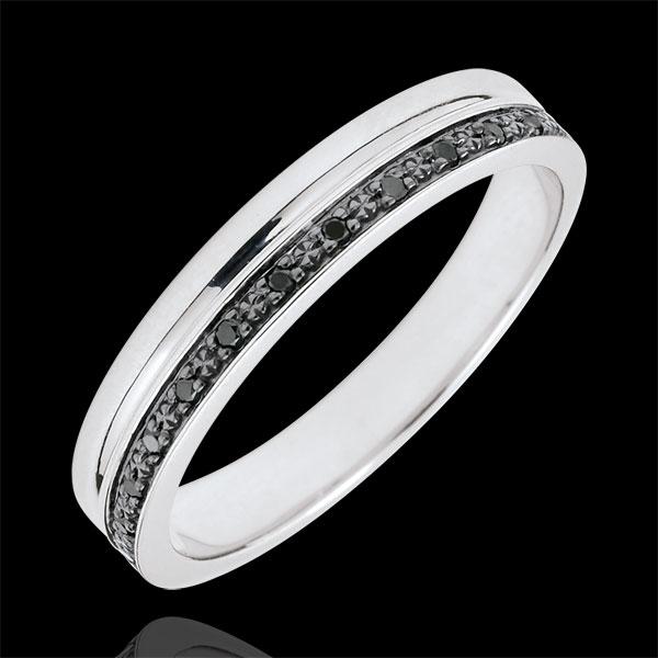 Trouwring Elegantie witgoud en zwarte diamanten - 9 karaat goud