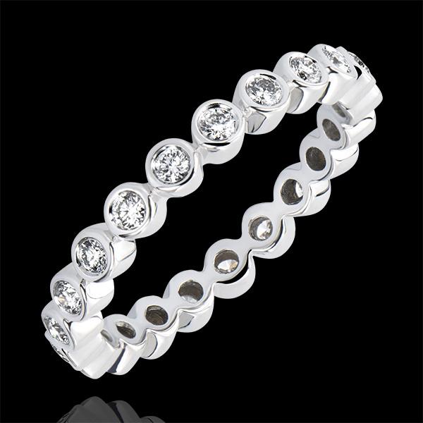 Trouwring Fleur de Sel - Met Diamanten bezette cirkel - 18 karaat witgoud met Diamanten