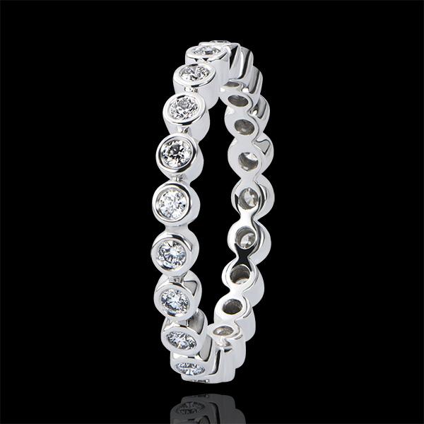 Trouwring Fleur de Sel - Met Diamanten bezette cirkel - 9 karaat witgoud met Diamanten