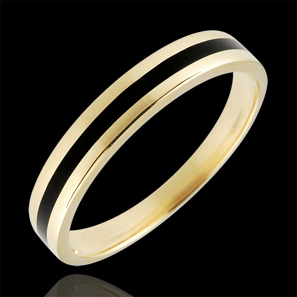 Trouwring goud Heren - Chiaroscuro - Een lijn - 9 karaat geelgoud en zwarte lak - 9 karaat