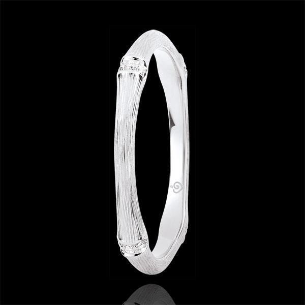 Trouwring Heilige Jungle - Meerdere Diamanten 2 mm - geborsteld 18 karaat witgoud