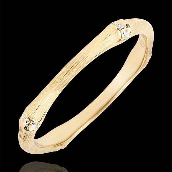 Trouwring Heilige Jungle - Meerdere Diamanten 2 mm - geborsteld 9 karaat geelgoud