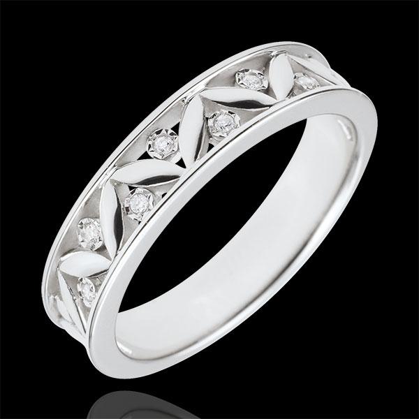 Trouwring Lentekriebels - Oude Rome - 9 karaat witgoud -7 Diamanten