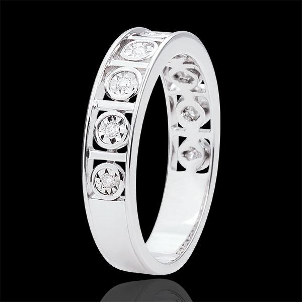 Trouwring Liefdesgeheim - 9 Diamanten - 18 karaat witgoud