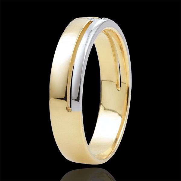 Trouwring Olympia Diamant - Gemiddeld model - Tweekleurig - 18 karaat goud