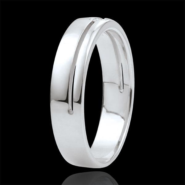 Trouwring Olympia Diamant - Gemiddeld model - witgoud - 18 karaat goud