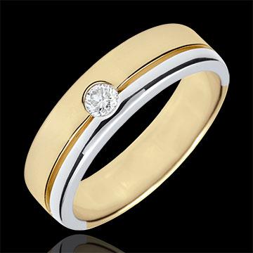 Trouwring Olympia Diamant - Groot model - Tweekleurig - 9 karaat goud