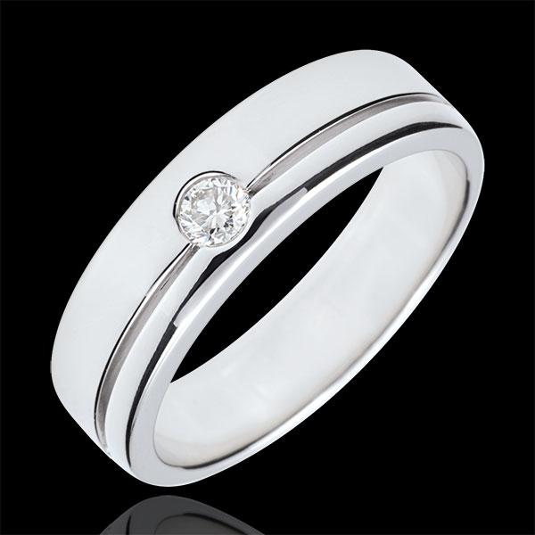 Trouwring Olympia Diamant - Groot model - witgoud - 9 karaat goud