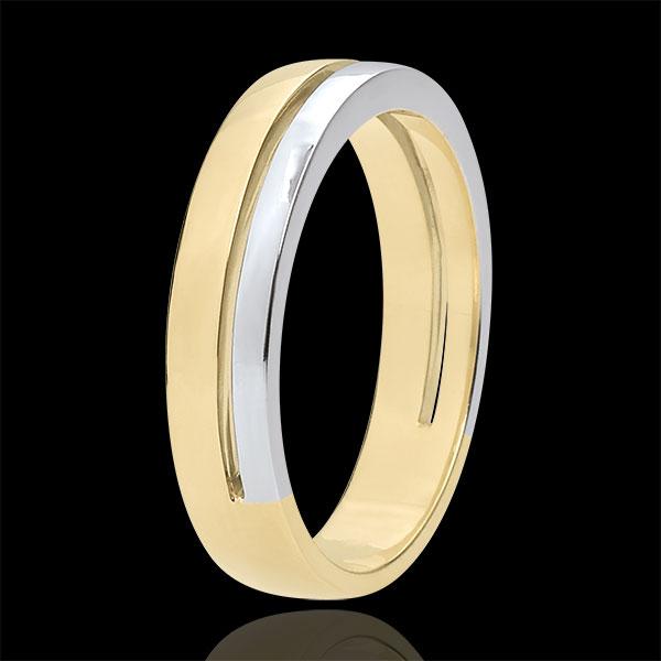 Trouwring Olympia - klein model - Tweekleurig - 9 karaat goud