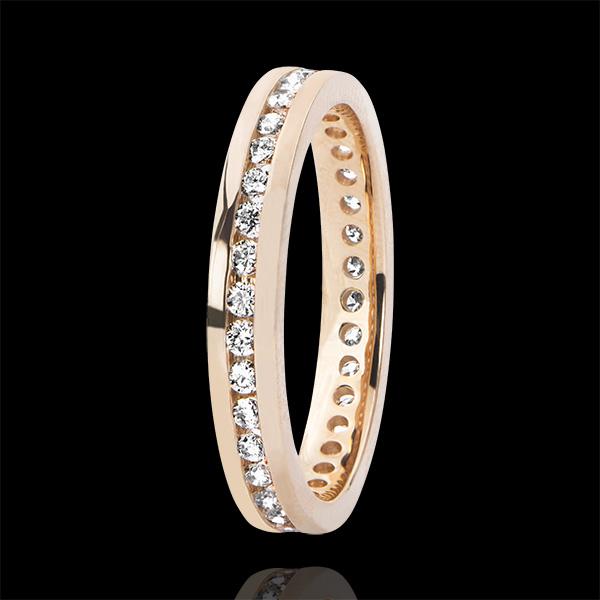 Trouwring Origine - Diamantbed - bezette cirkel - rozégoud 9 karaat en Diamanten