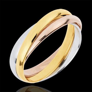 Trouwring Saturnus Beweging - gemiddeld model - 3 goudkleuren, 3 Ringen 18 karaat goud