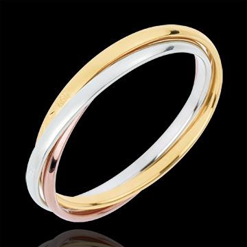 Trouwring Saturnus Beweging - klein model - 3 goudkleuren, 3 Ringen 18 karaat goud