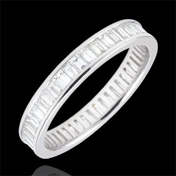 Trouwring wit goud betegeld - staaf - 1,28 karaat - baguette diamanten - Volledig rond