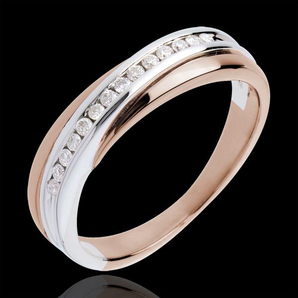 Trouwring witgoud en rozégoud half bezet - 14 Diamanten - 18 karaat goud