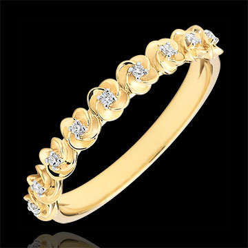 Ring Ontluiken - Kroon van rozen -klein model - geel goud en diamanten - 18 karaat