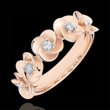 Ring Ontluiken - Kroon van rozen - roze goud en diamanten - 18 karaat