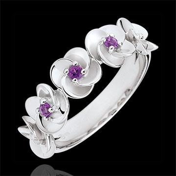 Ring Ontluiken - Kroon van rozen - wit goud en amethist - 18 karaat
