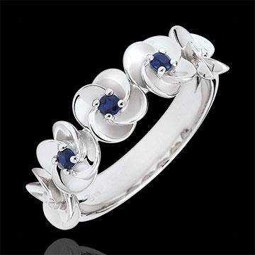 Ring Ontluiken - Kroon van rozen - wit goud en saffieren - 9 karaat