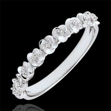 Ring Ontluiken - Kroon van rozen -klein model - wit goud en diamanten - 9 karaat