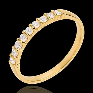 Trouwring Geel Goud betegeld – klauwen - 0.25 karaat - 9 Diamanten