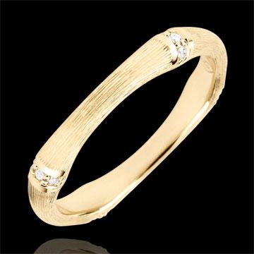 Trouwring Gewijde Jungle - Meerdere diamanten 3 mm - geborsteld geelgoud 18 karaat