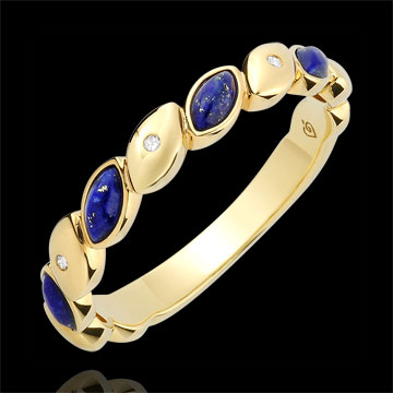 Trouwring Félicité - Lazuursteen met diamanten - geel goud 18 karaat