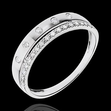 Ring Betovering - Crown of Stars - klein model - wit goud