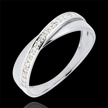 Trouwring Saturnus Duo - diamanten - wit goud - 18 karaat
