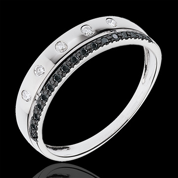 Ring Betovering - Crown of Stars - klein model - zwarte diamanten