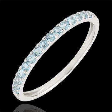 Ring Paradijsvogel - een rij - wit goud en blauwe topaas