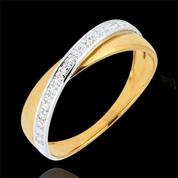 Trouwring Saturnus Duo - diamanten - geel en wit goud - 18 karaat